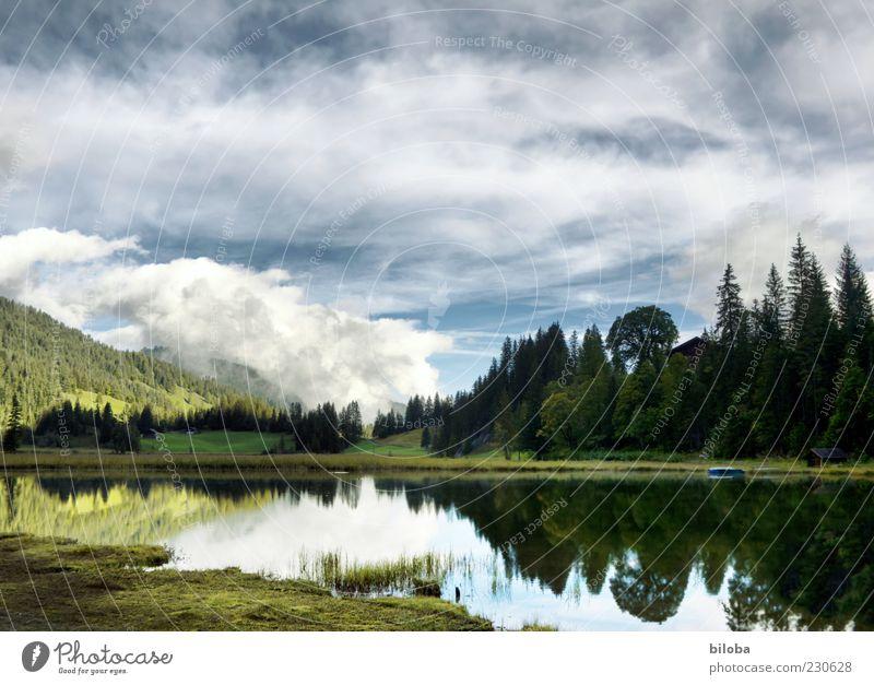 Lauenensee... Natur Landschaft Wolken Frühling Seeufer blau grün weiß Einsamkeit einzigartig Idylle Reflexion & Spiegelung Wald HDR Menschenleer