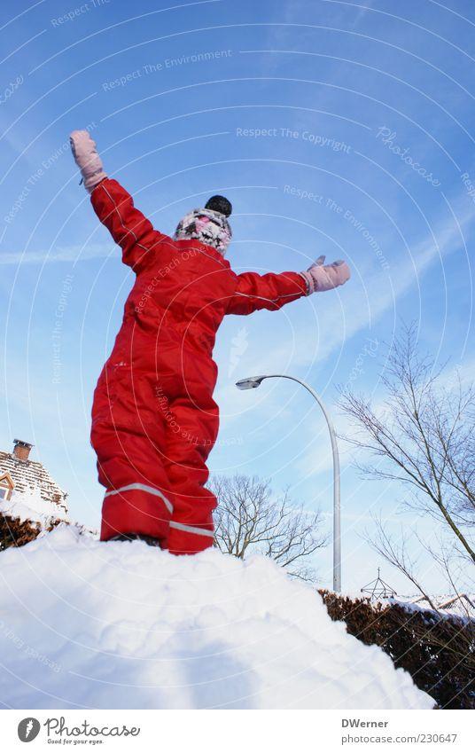 Schneekönig Mensch Kind Himmel rot Winter Spielen Freiheit Bewegung hell Zufriedenheit Abenteuer Fröhlichkeit Erfolg stehen Bekleidung