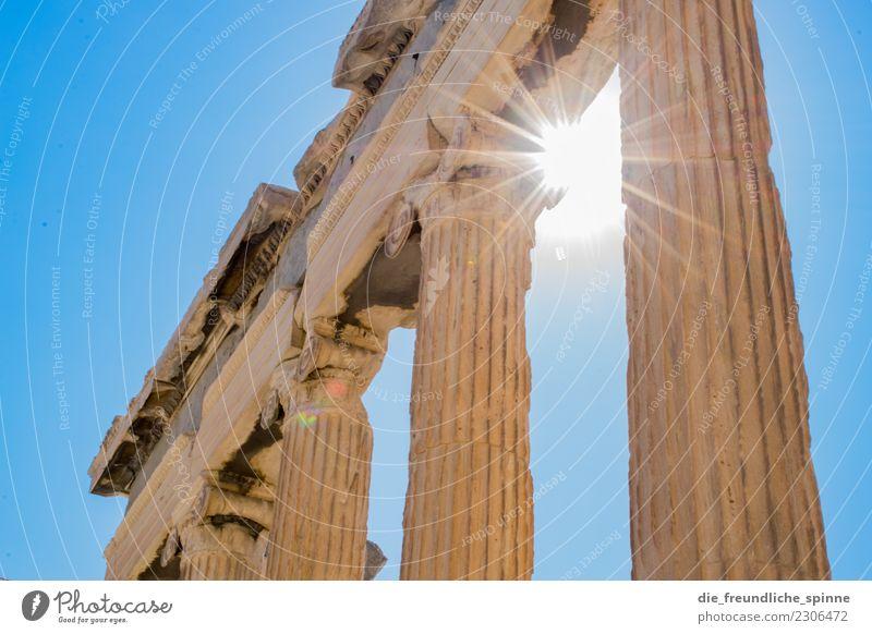 Akropolis & Erechtheum Ferien & Urlaub & Reisen Tourismus Ferne Sightseeing Sommer Sonne Kunst Skulptur Architektur Wolkenloser Himmel Schönes Wetter Wärme