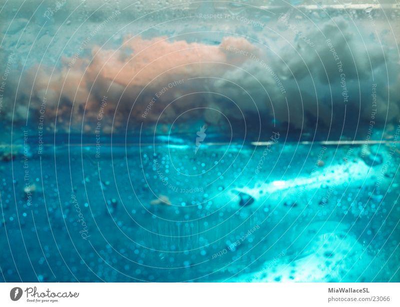 Eiskalt Wasser blau Wolken Eis Wassertropfen