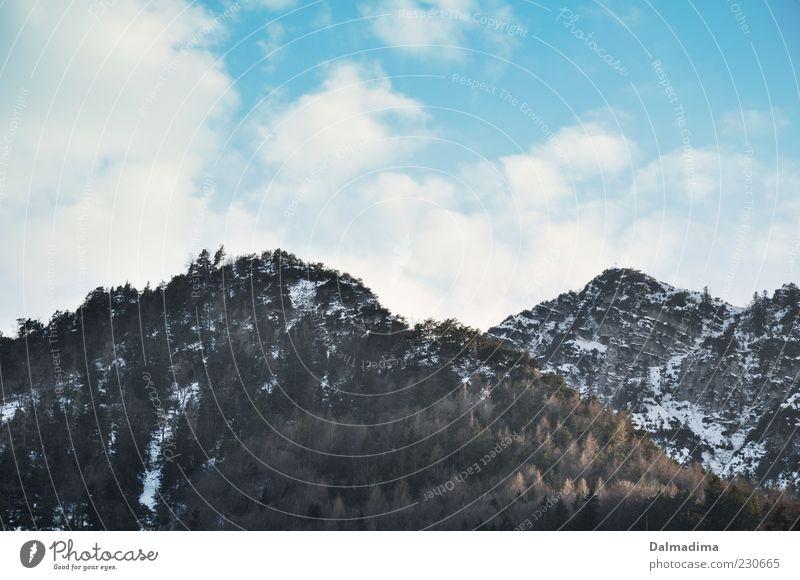 Bergblick Himmel Baum Winter Wolken ruhig Wald Umwelt Landschaft Berge u. Gebirge Klima Alpen Schönes Wetter Gipfel Schneebedeckte Gipfel