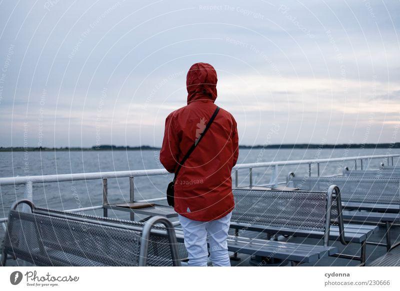 Die Ferne Mensch Himmel Natur Wasser Ferien & Urlaub & Reisen ruhig Einsamkeit Erholung Leben Umwelt Freiheit träumen See Horizont Zeit