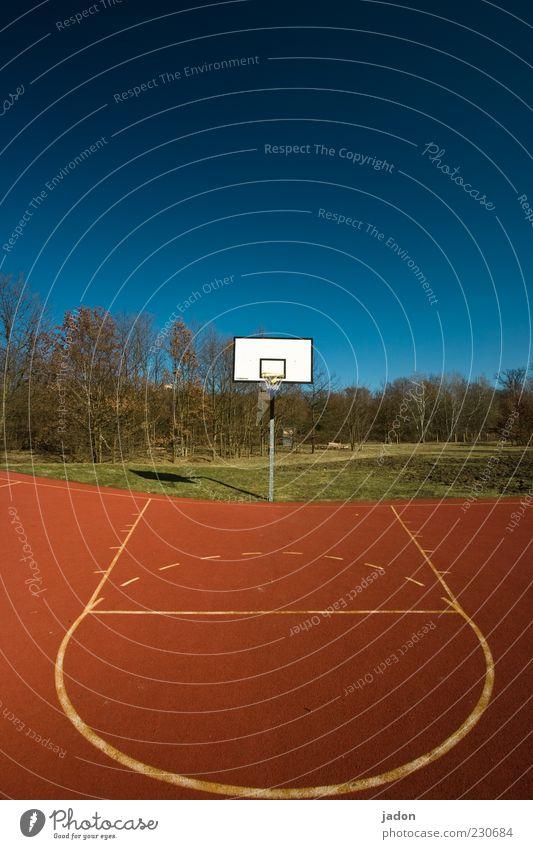 spielwiese. Ballsport Platz Spielplatz Kunststoff Streifen blau rot weiß Basketball Basketballkorb Basketballplatz Korb Linie Kreis Farbfoto mehrfarbig