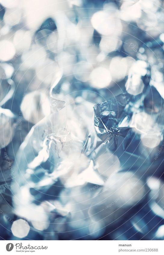 Alu kalt hell Metall glänzend Hintergrundbild authentisch Kitsch silber Verpackung eckig Lichtpunkt Krimskrams Metallfolie