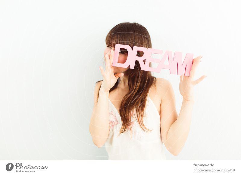 Na? Träumste von mir? Frau Mensch Erotik Freude Auge Erwachsene feminin Glück rosa träumen Schriftzeichen Fröhlichkeit niedlich Kleid stoppen langhaarig