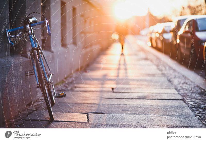 17 Mensch Stadt Sommer Haus Umwelt Wand Wege & Pfade Mauer Fassade Häusliches Leben PKW Idylle Fahrrad gold laufen Vergänglichkeit