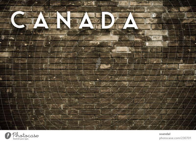 can Menschenleer Haus Bauwerk Gebäude Mauer Wand Fassade Sehenswürdigkeit alt außergewöhnlich braun Farbfoto Außenaufnahme Tag Backsteinwand Kanada Buchstaben