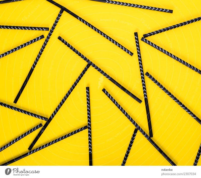 schwarze Cocktailstrohhalme Farbe gelb oben hell weich Kunststoff Tube