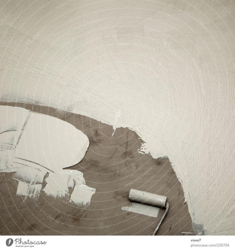 Grund grundieren alt weiß Einsamkeit Farbe dunkel Wand grau Farbstoff dreckig Beginn frisch authentisch Baustelle einfach rein Zeichen