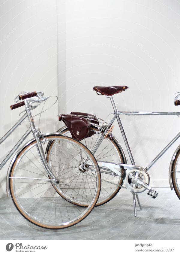 Fahrräder weiß Freude kalt grau Stil hell braun Fahrrad glänzend Design Lifestyle fahren Rad trendy Symmetrie anstrengen