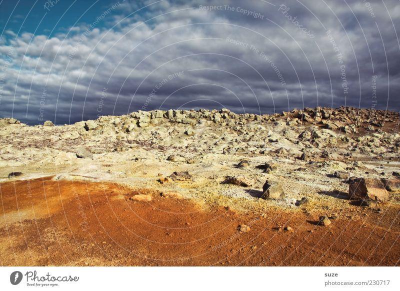 Schwefelberg Umwelt Natur Landschaft Urelemente Erde Sand Himmel Wolken Horizont Stein außergewöhnlich fantastisch gelb orange Island Pyrit Mývatn