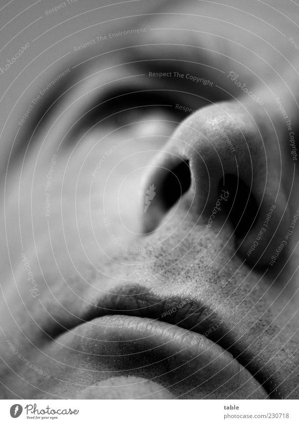 sprachlos . . . Mensch Mann ruhig Erwachsene Gesicht Auge Gefühle Kopf Traurigkeit Denken träumen Mund Haut maskulin Nase Hoffnung