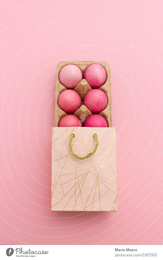 Gefärbte Ostereier verschenken in Geschenktüte schön Farbe Freude Essen Lebensmittel Feste & Feiern rosa Design elegant ästhetisch frisch Ostern Inspiration