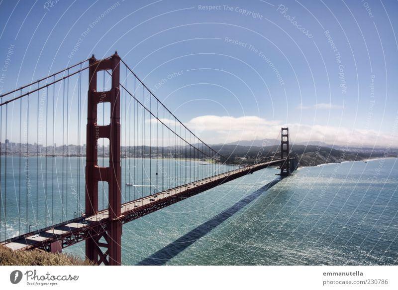 Golden Gate Bridge Natur Landschaft Wasser Sommer Schönes Wetter Flussufer Meer San Francisco USA Kalifornien Hafenstadt Skyline Brücke Bauwerk Architektur