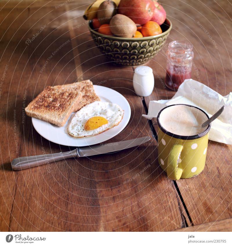 frühstück ist fertig! Ernährung Holz Lebensmittel Gesundheit Orange Frucht Tisch Getränk Kaffee Apfel Geschirr Tasse Teller lecker Frühstück Appetit & Hunger