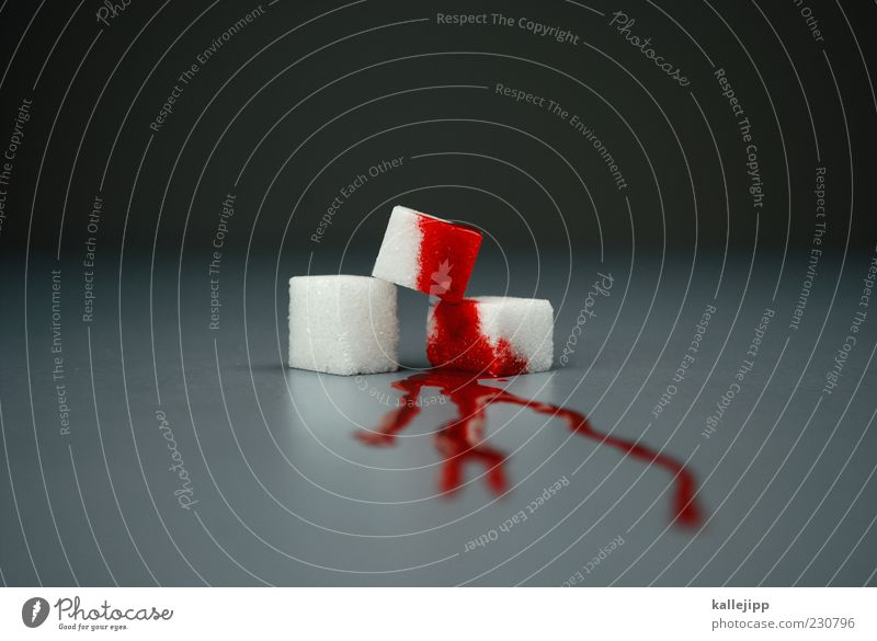 blutzucker Lebensmittel süß Gesundheitswesen Symbole & Metaphern Krankheit Süßwaren Blut Zucker Unschärfe Ernährung Quader Blutfleck Würfelzucker Blutzucker