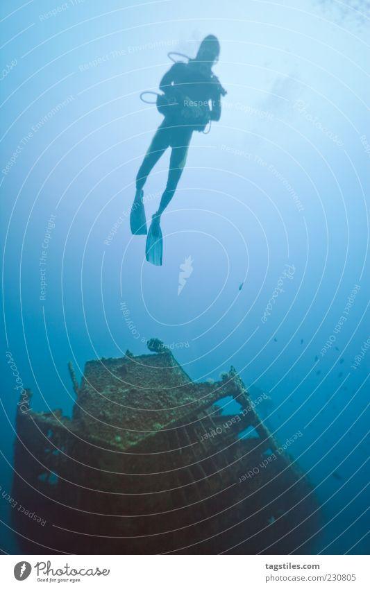 WRACKTAUCHEN Schiffswrack tauchen Sport Taucher Meer Mauritius Wasserfahrzeug Verfall Sonne blau Farbfoto Textfreiraum rechts ruhig Idylle Einsamkeit