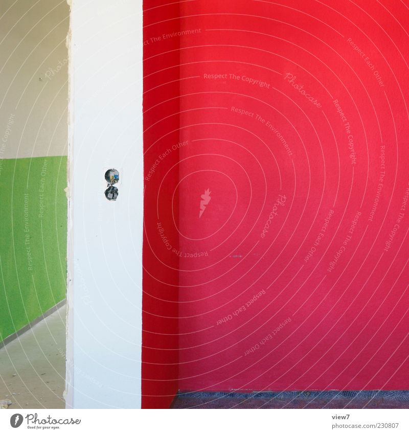 NEON rot Haus Farbe Wand Stein Mauer Linie Innenarchitektur Beton Ordnung Beginn Design modern ästhetisch authentisch