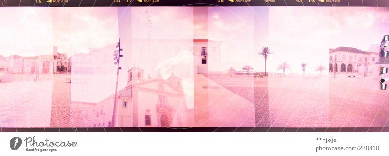 the south in panoramic vision. Lagos rosa Portugal Süden Algarve Holga Doppelbelichtung Panorama (Bildformat) Palme Platz Kirche Cross Processing Architektur