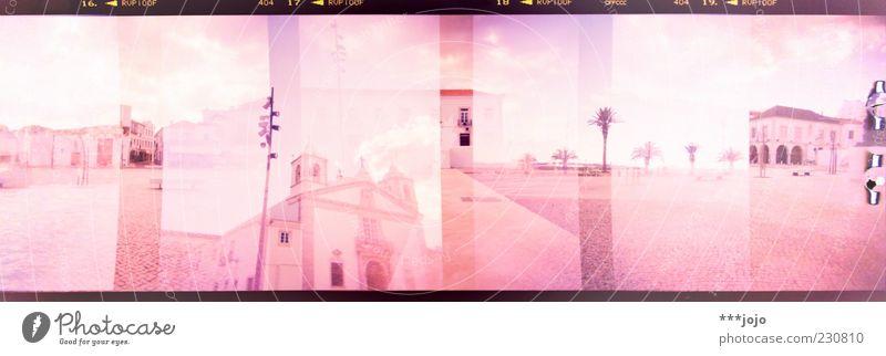 the south in panoramic vision. Stadt Haus Architektur träumen rosa Platz leer Kirche analog Palme Doppelbelichtung Stadtzentrum Panorama (Bildformat) Pflastersteine Marktplatz Portugal