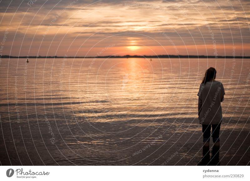 Sonnenuntergang Mensch Natur Wasser Jugendliche Ferien & Urlaub & Reisen ruhig Einsamkeit Ferne Erholung Leben Freiheit Umwelt See Zufriedenheit Zeit Horizont