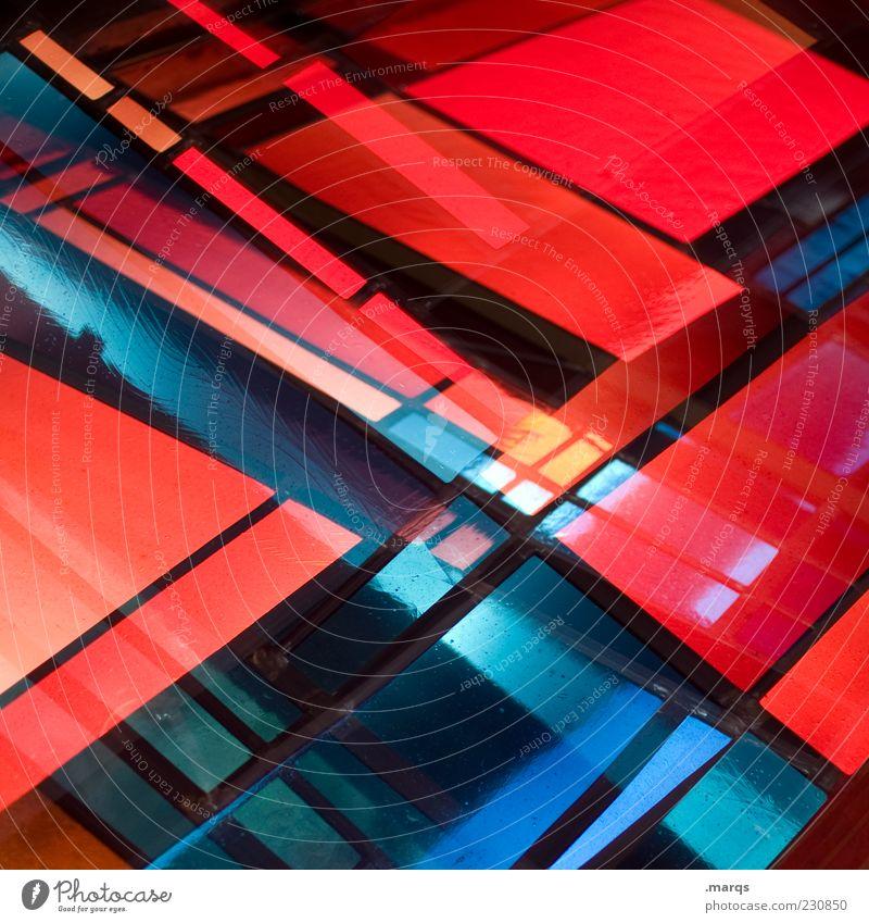 X blau rot Farbe Stil Linie Kunst Glas Design modern außergewöhnlich verrückt Dekoration & Verzierung leuchten Lifestyle einzigartig chaotisch