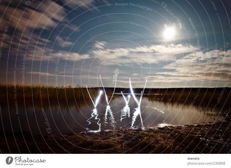 xXxX Umwelt Natur Landschaft Wasser Himmel Nachthimmel Seeufer Teich Zeichen Schriftzeichen Ziffern & Zahlen dunkel Surrealismus Typographie Buchstaben