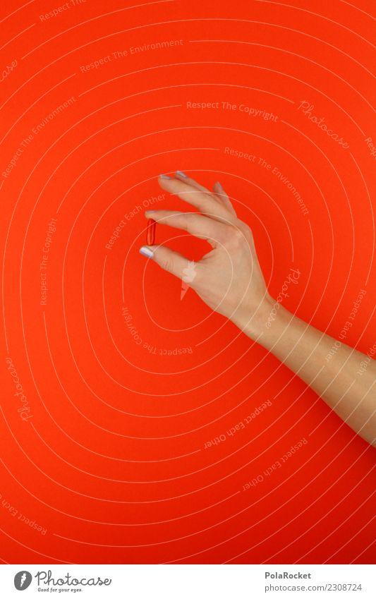 #A# orange Pille Kunst ästhetisch Tablette Die Pille Medikament Medizintechnik Pharmazie Pharmazeut Hand festhalten Vitamin B Nahrungsergänzungsmittel Farbfoto