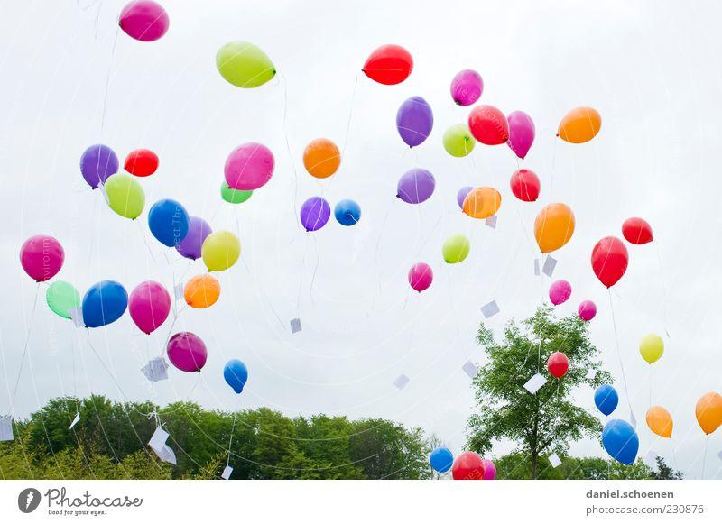 Nummer 844 Freude Feste & Feiern Geburtstag Luftballon blau mehrfarbig gelb grün violett rosa rot Fröhlichkeit Lebensfreude Leichtigkeit fliegen steigen Brief