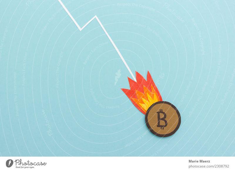 Bitcoin Münze mit Raketenfeuer im freien Fall Kapitalwirtschaft Börse Internet fallen Armut bedrohlich trendy nerdig blau Laster Enttäuschung Angst Gier