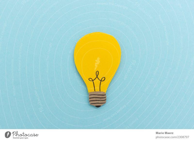 Idee & Inspiration - Leuchtende Glühbirne aus Papier blau gelb Business außergewöhnlich Denken leuchten frisch Kreativität Erfolg Beginn lernen Neugier planen