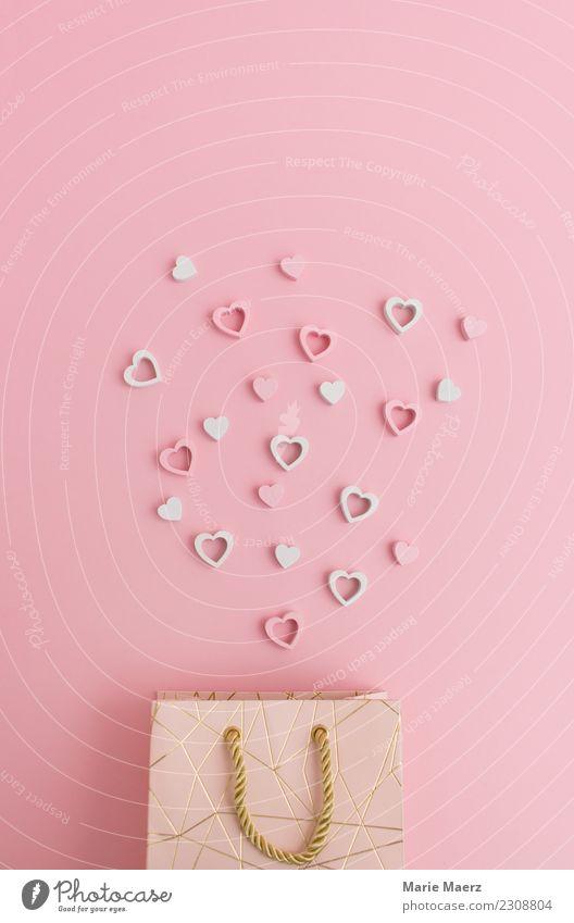 Schicke Geschenktüte mit verstreuten Herzen kaufen Valentinstag Muttertag Hochzeit Verpackung Liebe Fröhlichkeit schön rosa Glück Überraschung schenken Tüte