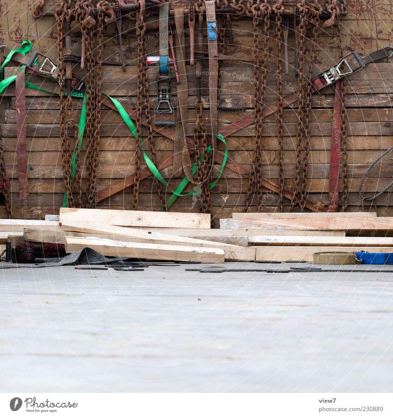 Trucker Tools Werkzeug Seil Industrie Verkehrsmittel Fahrzeug Holz Metall alt dreckig authentisch einfach einzigartig braun Stress Dienstleistungsgewerbe