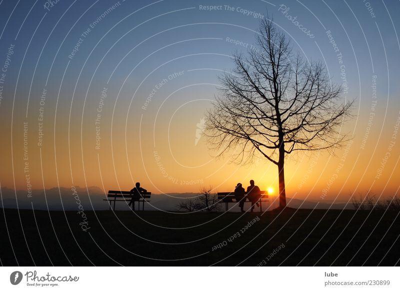 Auf der Ruhebank harmonisch Wohlgefühl Zufriedenheit Erholung ruhig Ferien & Urlaub & Reisen 3 Mensch Landschaft Wolkenloser Himmel Sonnenaufgang
