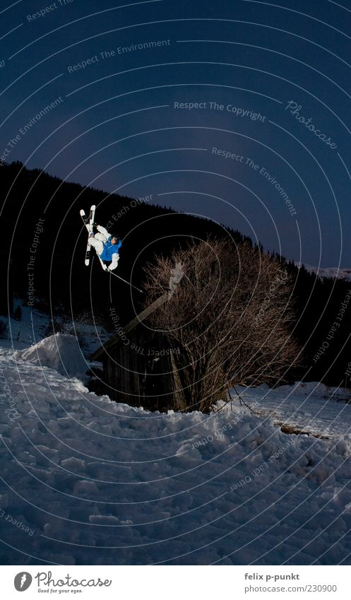 hutspin Mensch Baum Freude Winter Berge u. Gebirge Schnee Stil Sport Glück Lifestyle springen maskulin wild elegant Fitness Skifahren