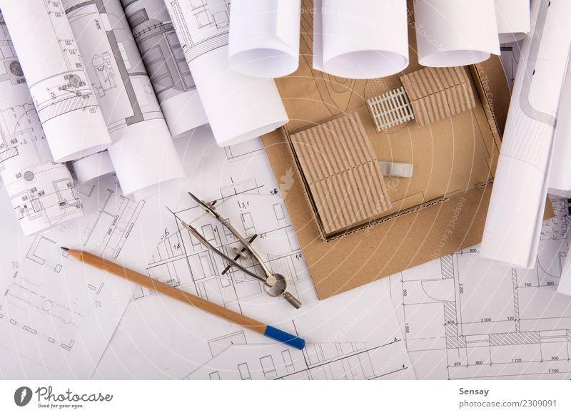 Arbeitsplatz des Architekten Design Wohnung Haus Schreibtisch Tisch Büroarbeit Industrie Business Technik & Technologie Architektur Papier Holz weiß Idee