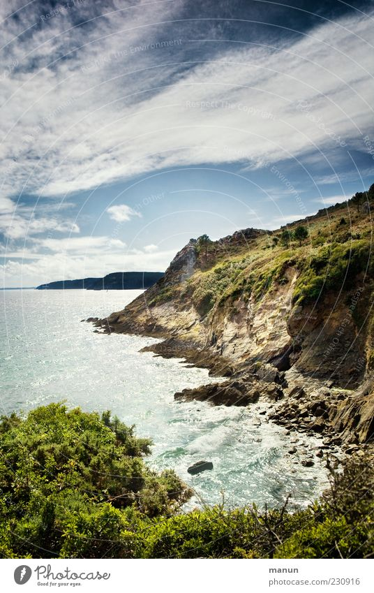 Klippen Natur Landschaft Urelemente Wasser Himmel Schönes Wetter Sträucher Felsen Küste Bucht Meer Bretagne authentisch Fernweh Ferien & Urlaub & Reisen