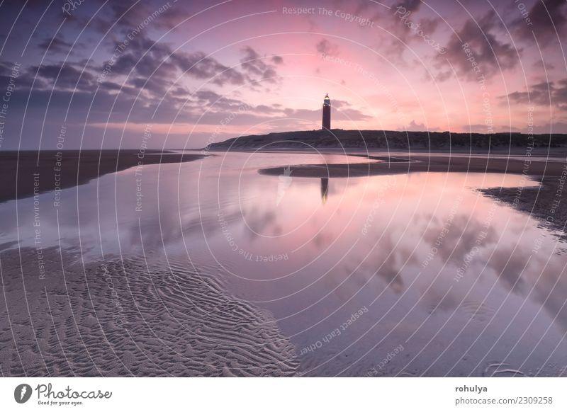 violetter Sonnenaufgang über Nordseestrand und Leuchtturm, Texel schön Ferien & Urlaub & Reisen Strand Meer Landschaft Sand Himmel Wolken Horizont