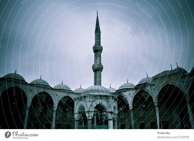 Blaue Moschee blau Wand grau Religion & Glaube Mauer Tourismus Hoffnung Turm Spitze Schutz Symmetrie Sehenswürdigkeit Tradition Türkei Bogen
