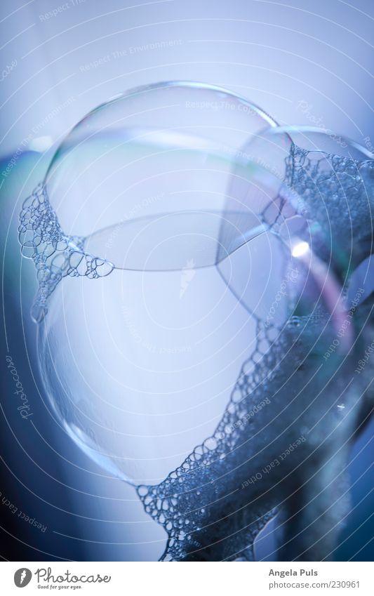 seifenblasen- schön blau träumen rund einzigartig Wunsch nah Kugel Ewigkeit Seifenblase Schaum Lichtbrechung Makroaufnahme