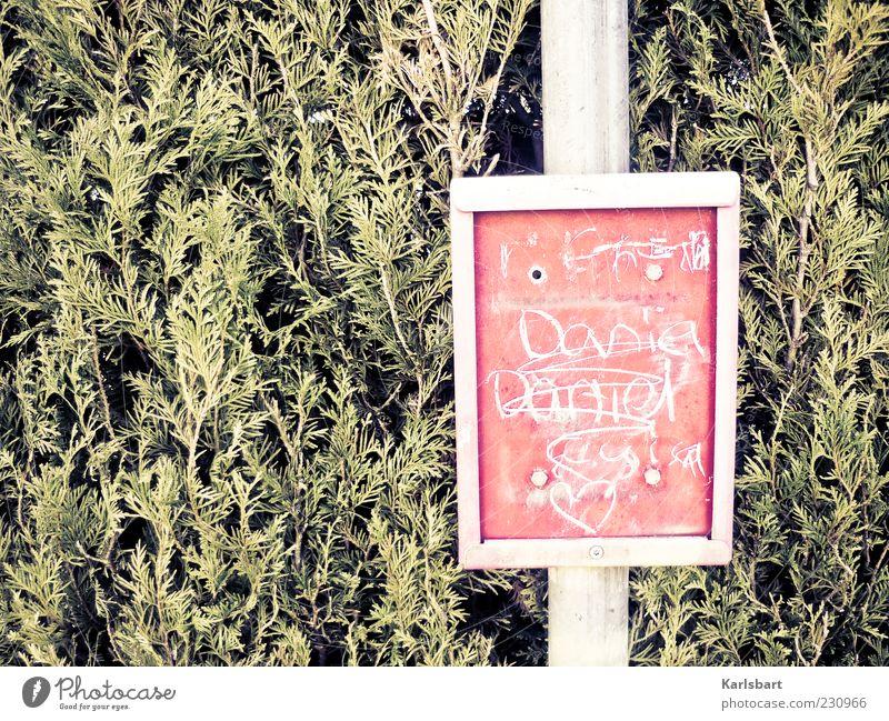 fahrplanwechsel. Natur rot Pflanze Graffiti Bewegung Metall Herz Schilder & Markierungen warten Schriftzeichen Lifestyle Sträucher Kunststoff Kitsch Zeichen