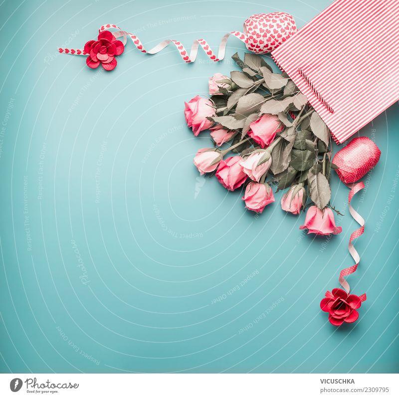 Blassrosa Rosenbündel in der Einkaufstasche mit Schleifen kaufen Stil Design Dekoration & Verzierung Feste & Feiern Valentinstag Muttertag Hochzeit Geburtstag