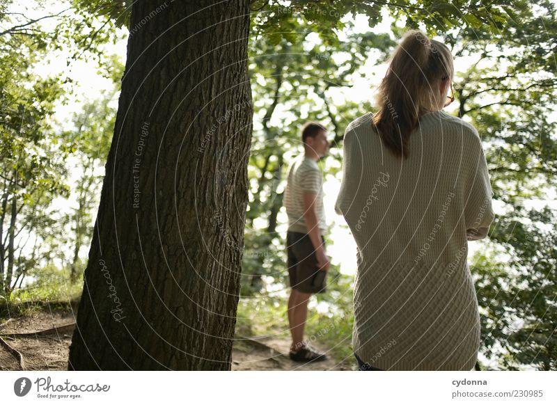Innehalten Mensch Natur Jugendliche Baum Blatt Einsamkeit ruhig Erwachsene Wald Ferne Erholung Umwelt Leben Gefühle Freiheit Wege & Pfade