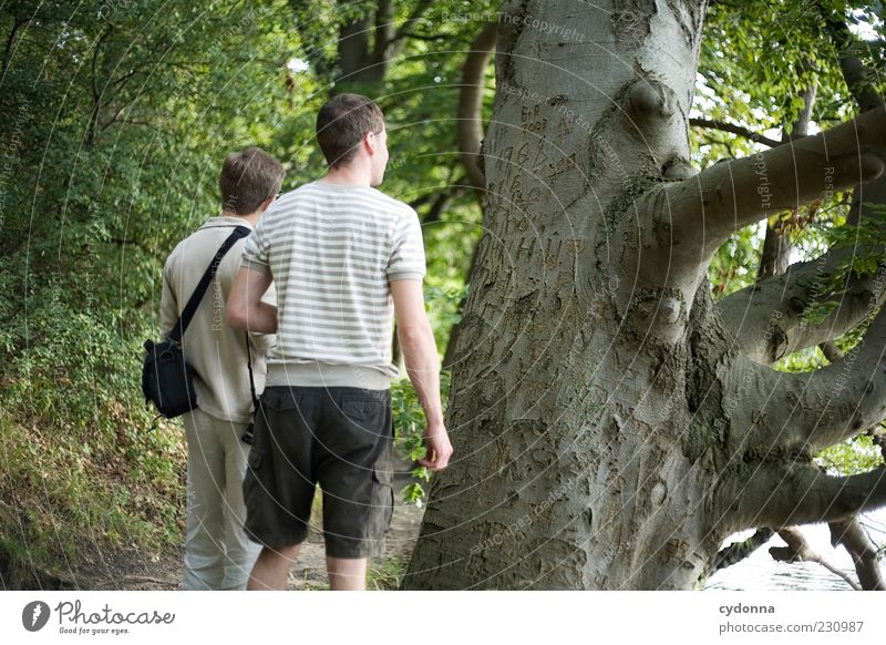 Hinterlassenschaften Mensch Natur Jugendliche Baum Blatt Erwachsene Wald Leben Umwelt Freiheit Wege & Pfade träumen Freundschaft Ausflug wandern Schriftzeichen