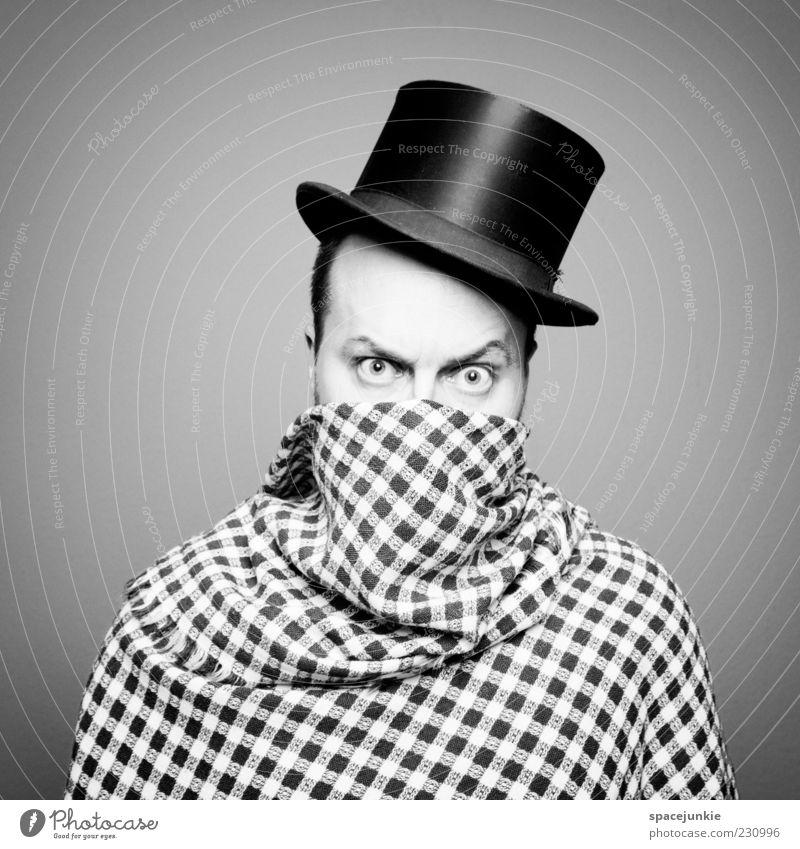 Tarnung Mensch Mann Erwachsene Auge maskulin gefährlich verrückt Coolness bedrohlich einzigartig gruselig Hut skurril Theater Stress böse