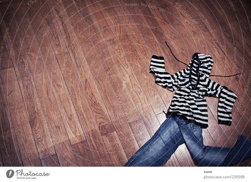 Stoffwechsel Karriere Mode Bekleidung Hose Jeanshose Pullover Holz Streifen laufen lustig verrückt braun Idee Kreativität skurril Bodenbelag Textilien