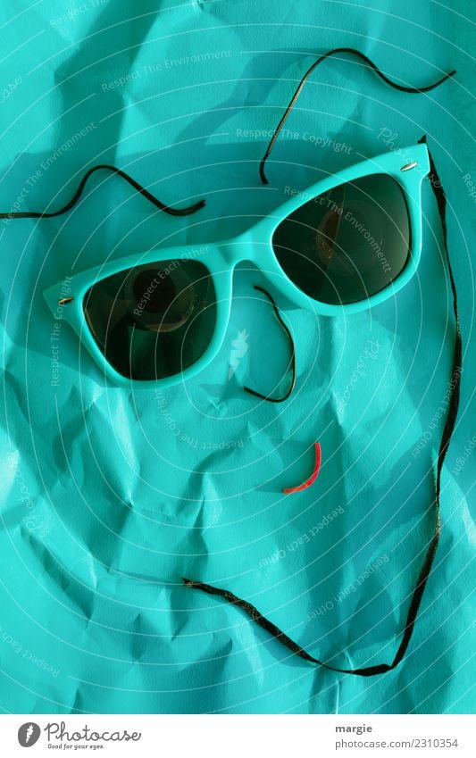Emotionen...coole Gesichter: Sonnenanbeter Mensch Mann grün schwarz Erwachsene feminin maskulin türkis androgyn