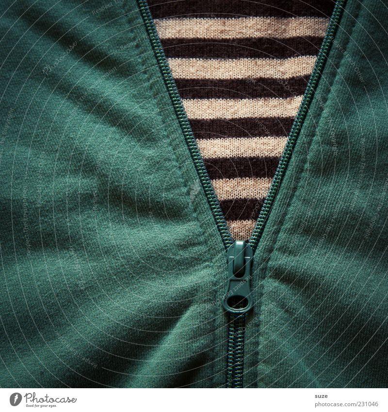 Stripes Bekleidung Pullover Jacke Streifen grün Baumwolle Reißverschluss aufmachen schließen Falte Textilien Stoff Stoffmuster Farbfoto Innenaufnahme