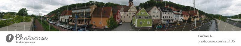 Stadt Rothenfels Panorama (Aussicht) Allgäu Architektur Die kleinste Stadt Bayerns Stadt Rothenfels in Unterfranken- Main Wasser groß Panorama (Bildformat)