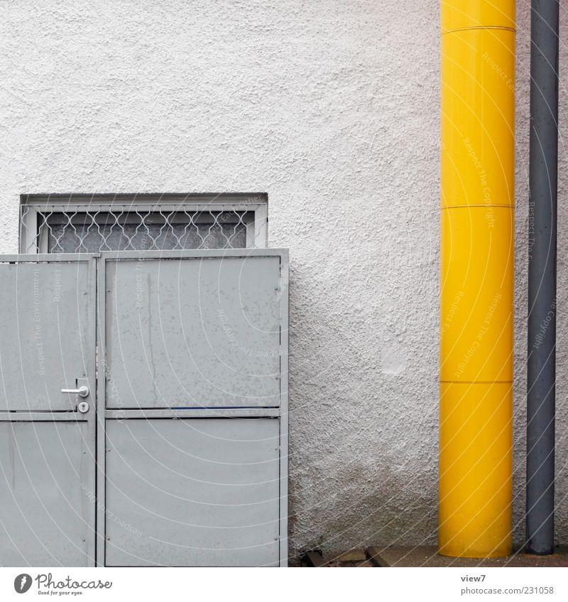 Hinterhof Haus Bauwerk Gebäude Mauer Wand Fassade Fenster Dachrinne Beton Metall Linie alt dünn einfach einzigartig kalt modern trist gelb grau Design Farbe